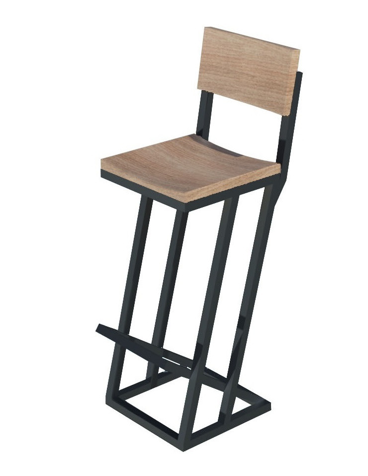 Дизайнерський чорний барний табурет з металу і дерева