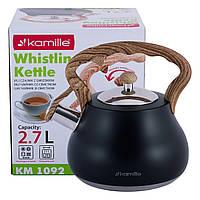 Чайник Kamille Черный 2,7л из нержавеющей стали со свистком и нейлоновой ручкой KM-1092, фото 1