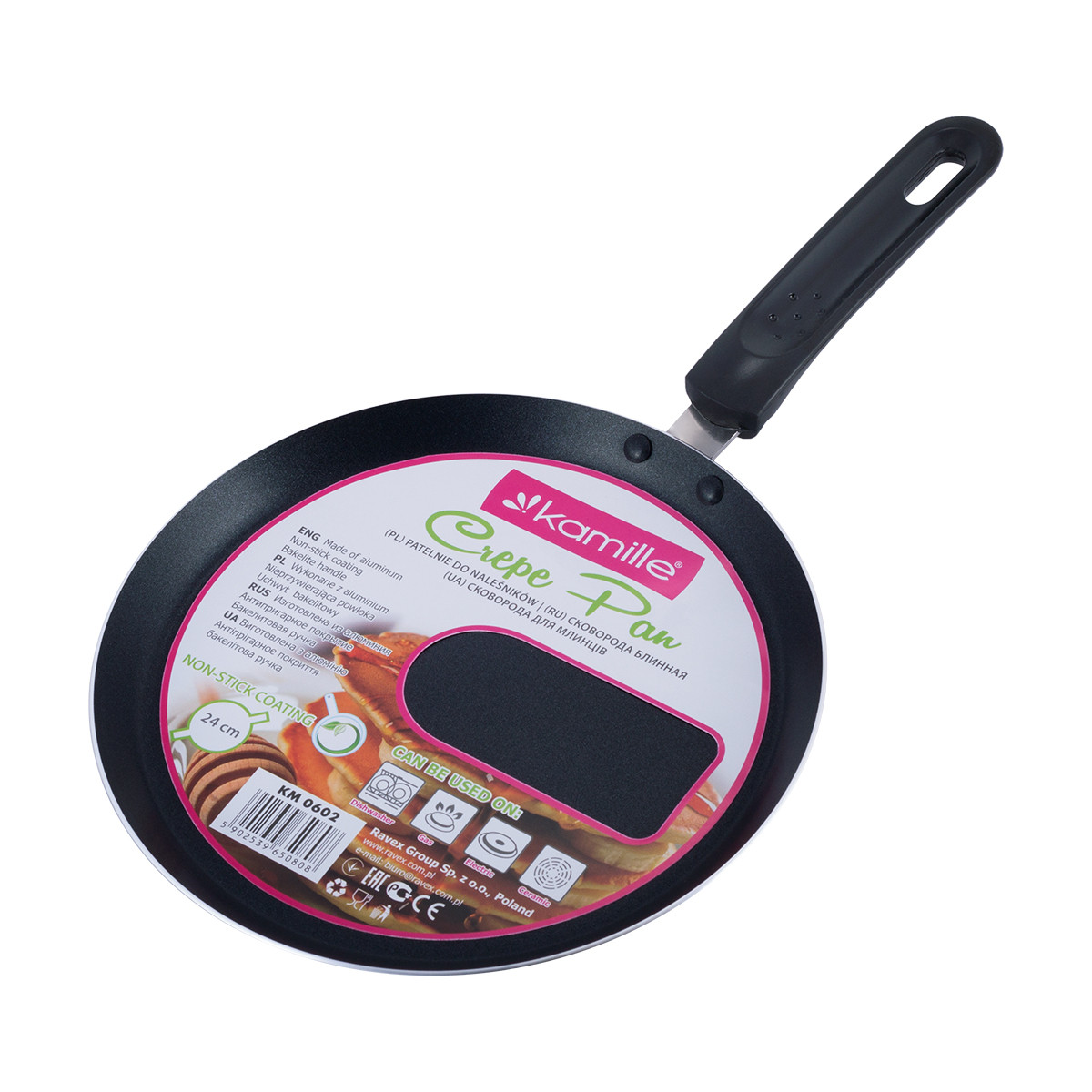 Сковорода блинная Kamille 24см с антипригарным покрытием KM-0602