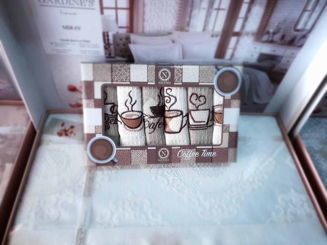 Набор кухонных вафельных полотенец Niltex  40х60 Кофе 6шт.