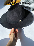 Фетровая шляпа Федора женская черная