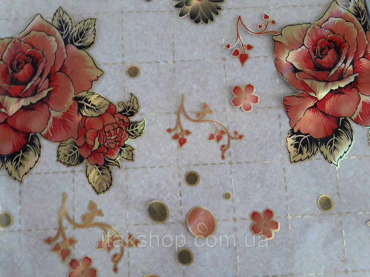 М'яке скло Скатертину з лазерним малюнком для меблів Soft Glass 2.3х0.8м товщина 1.5 мм Червона троянда