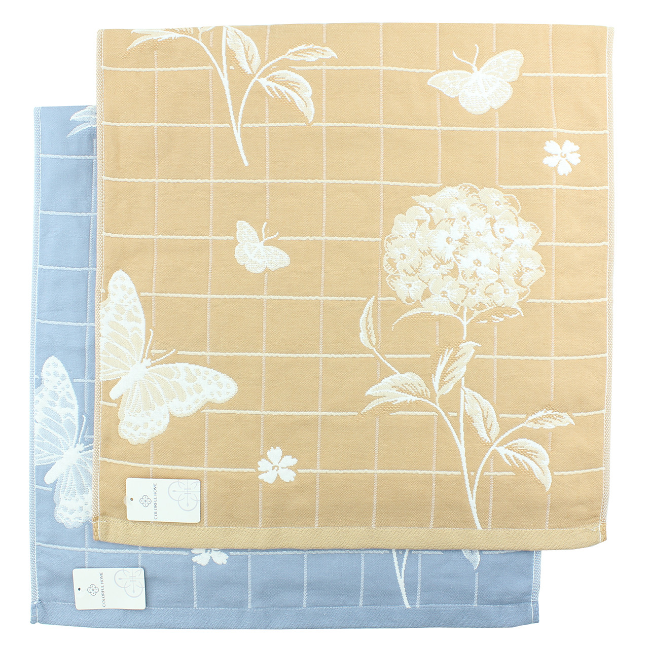 Полотенце для рук и лица 50x100см Бабочки, льняное лицевое полотенце