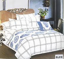 Красивый, прочный комплект постельного белья из сатина белый бол. клетка