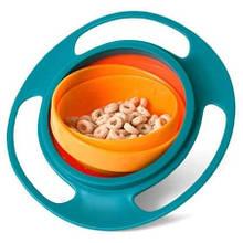 Детская непроливающаяся тарелка Universal Gyro BOWL Зеленый+Оранжевый