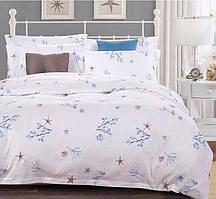 Красивый, прочный комплект постельного белья из сатина белый морс.узор