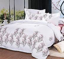 Красивый, прочный комплект постельного белья из сатина белый веточки