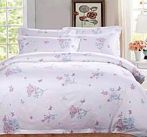 Красивый, прочный комплект постельного белья из сатина белый цветок