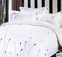 Красивый, прочный комплект постельного белья из сатина белый мел. цветок