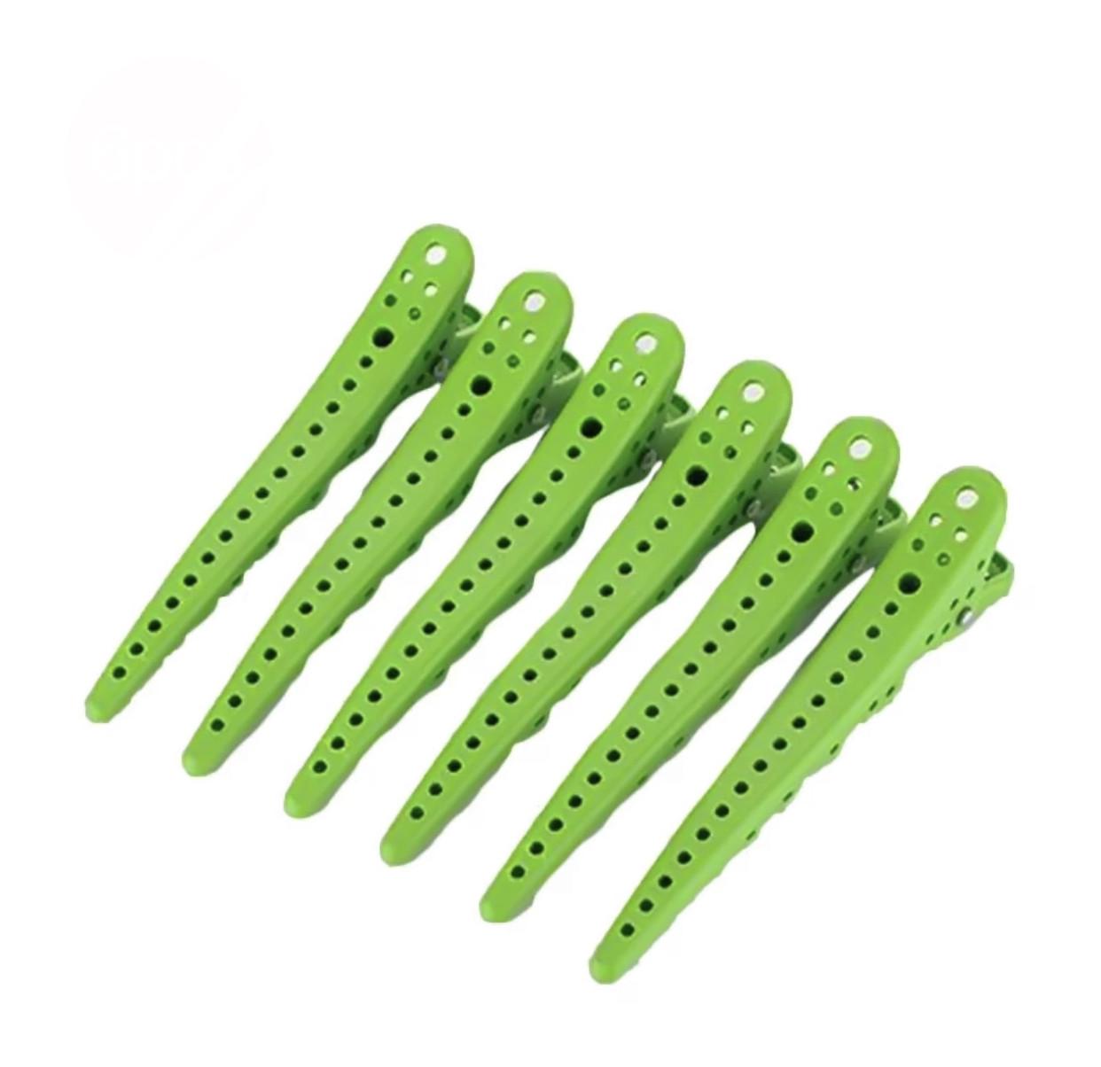 Зажимы для волос Shark clip зеленые 6шт/уп