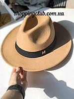 Фетровая шляпа Федора женская бежевый