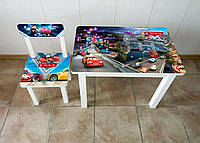 Детский столик со стульчиком Тачки город ЛДСП стул-стол столик пенал Стол и стульчик для детей