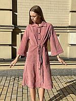 Платье-рубашка вельветовое с карманами женское миди на пуговицах с пояском пудровое M-L