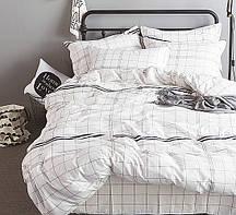 Очаровательное, практичное постельное белье сатин евро комплект белый клетка