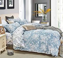 Очаровательное, практичное постельное белье сатин евро комплект голубой цветы