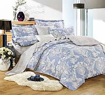 Очаровательное, практичное постельное белье сатин евро комплект голубой узоры
