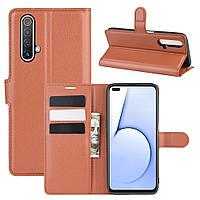 Чехол Luxury для Realme X50 / X50m книжка коричневый