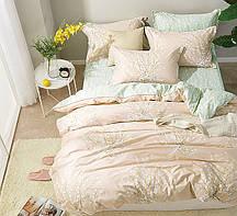 Очаровательное, практичное постельное белье сатин евро комплект пудрово-мятный