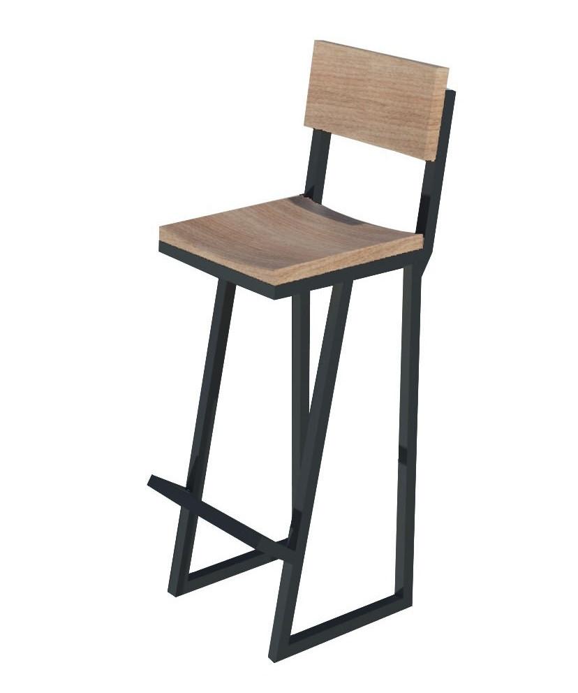 Високий чорний барний стілець з металу і дерева зі спинкою