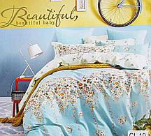 Очаровательное, практичное постельное белье сатин евро комплект св.голубой