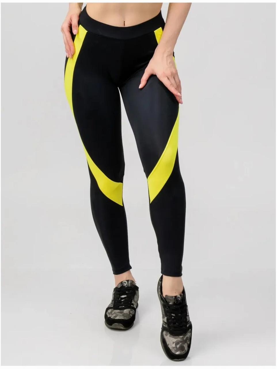 Лосины для фитнеса черные с желтыми полосками  80094-2