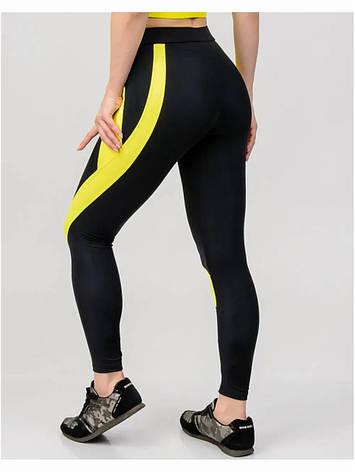Лосины для фитнеса черные с желтыми полосками  80094-2, фото 2