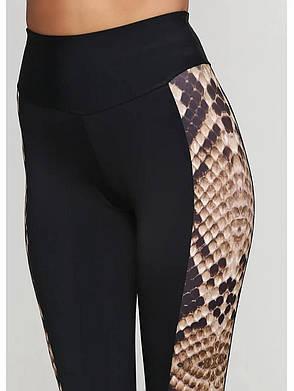Жіночі для фітнесу чорні з лампасами зміїного принта 700942, фото 2