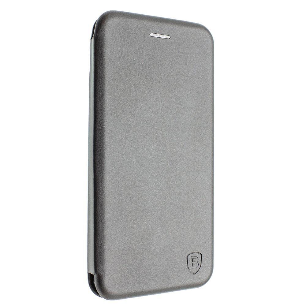 Чехол-книжка для Huawei Y 7 2019 серый, кожаный