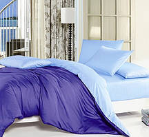 Однотонное, практичное постельное белье сатин евро комплект синий+св.голубой