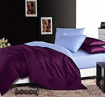 Однотонное, практичное постельное белье сатин евро комплект баклажан