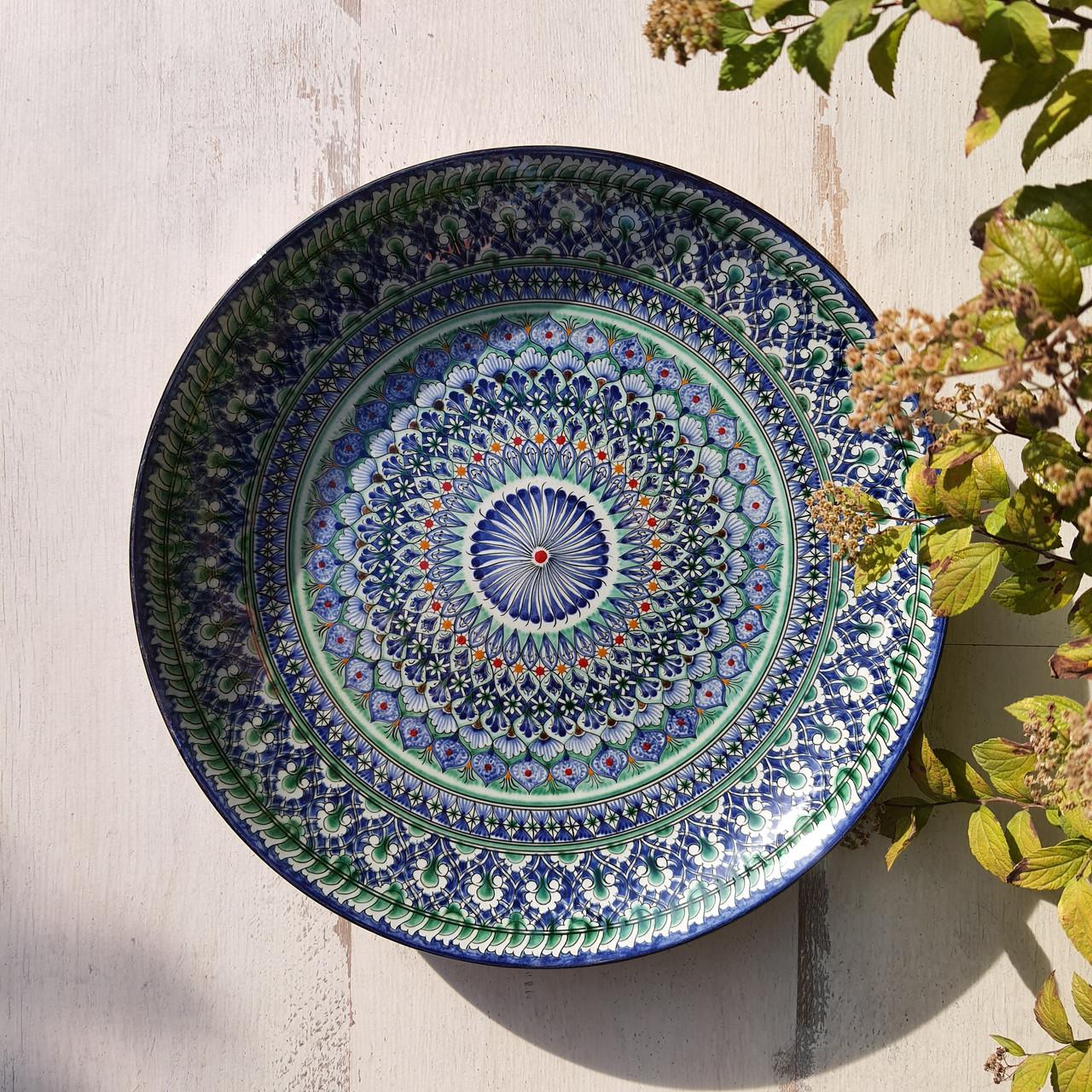 Тарелка для плова авторской росписи d 32 см. Узбекистан (133)