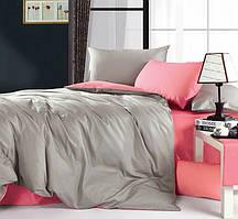 Однотонное, практичное постельное белье сатин евро комплект серый+розовый