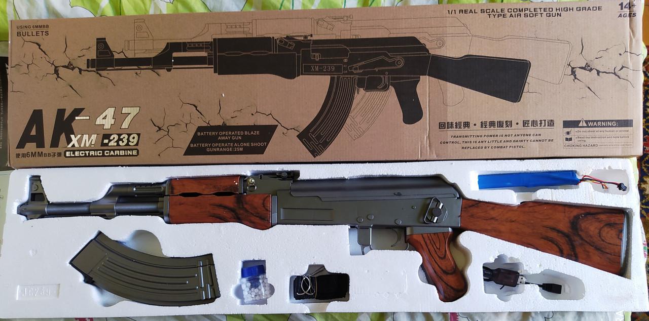 Игрушечный автомат Калашникова АК-47 XM-239 на аккумуляторе стреляет очередью