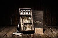 Камни для виски оригинал из стеатита, подарочный набор в деревянном пенале, 8 камней + 2 бокала Pasabahce Luna
