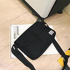 Сумка черная молодежная через плечо Сумка на грудь с карманами 223-03, фото 2