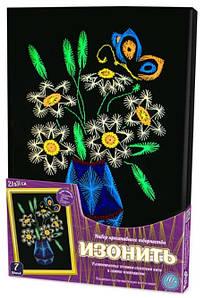 Набір для творчості Danko toys Ізонитка, картина панно з ниток муліне, Букет в вазі
