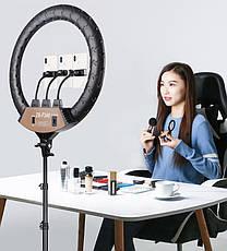 Кольцевая лампа светодиодное LED кольцо с креплением для телефона и штативом 2 м диаметр 45 см SLP G-600, фото 2