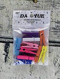 Набор прищепок канцелярских Цветные 3,5 см, 12 шт. в пакете 102991