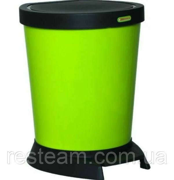 "Ведро с педалью пластик 10 л  оливковое ""Алеана"""