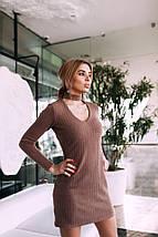 Сукня жіноча в'язана з чокером AniTi 070, мокко, фото 2