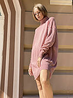 В'язана вовняна сукня міні жіноче під горло базове стильне oversize пудровое, фото 1
