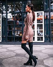 Сукня жіноча в'язана з чокером AniTi 070, мокко, фото 3
