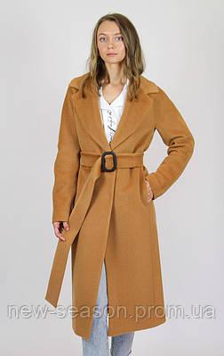 Пальто шерстяное длинное ELVI Д-817 песок