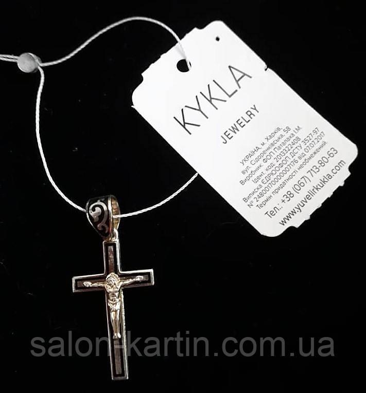 """Серебрянный подвес """"Крест-Спаси и Сохрани"""", эмаль, орнамент"""