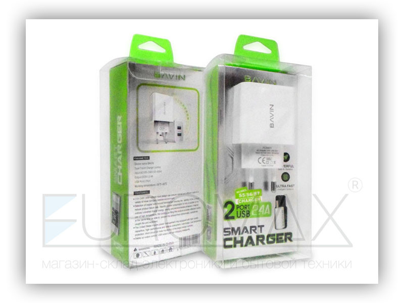 Зарядное устройство 220В с кабелем USB - micro USB BAVIN 100шт PC590Y-V8