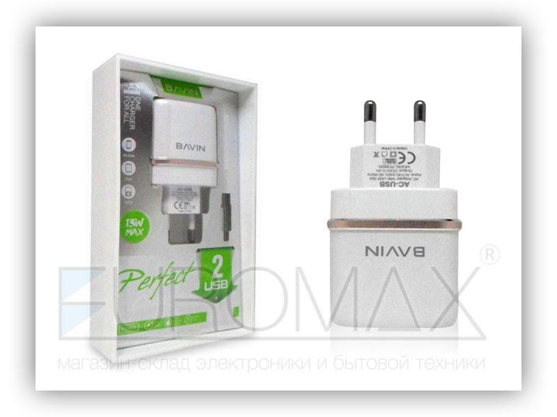 Зарядное устройство 220В 2,4А с кабелем USB - micro USB BAVIN 100шт PC683S-V8