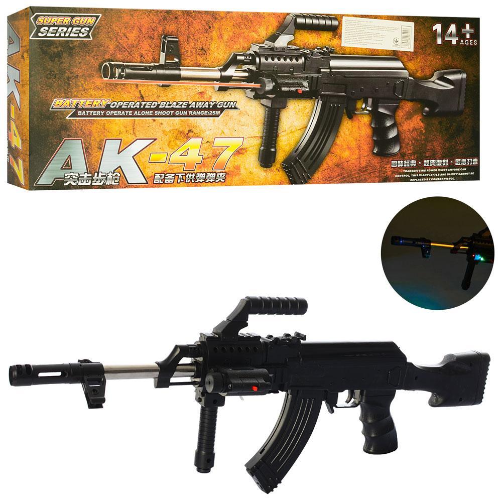 Игрушечный автомат АК-47 (087F) с пульками, фонариком, и лазерным прицелом