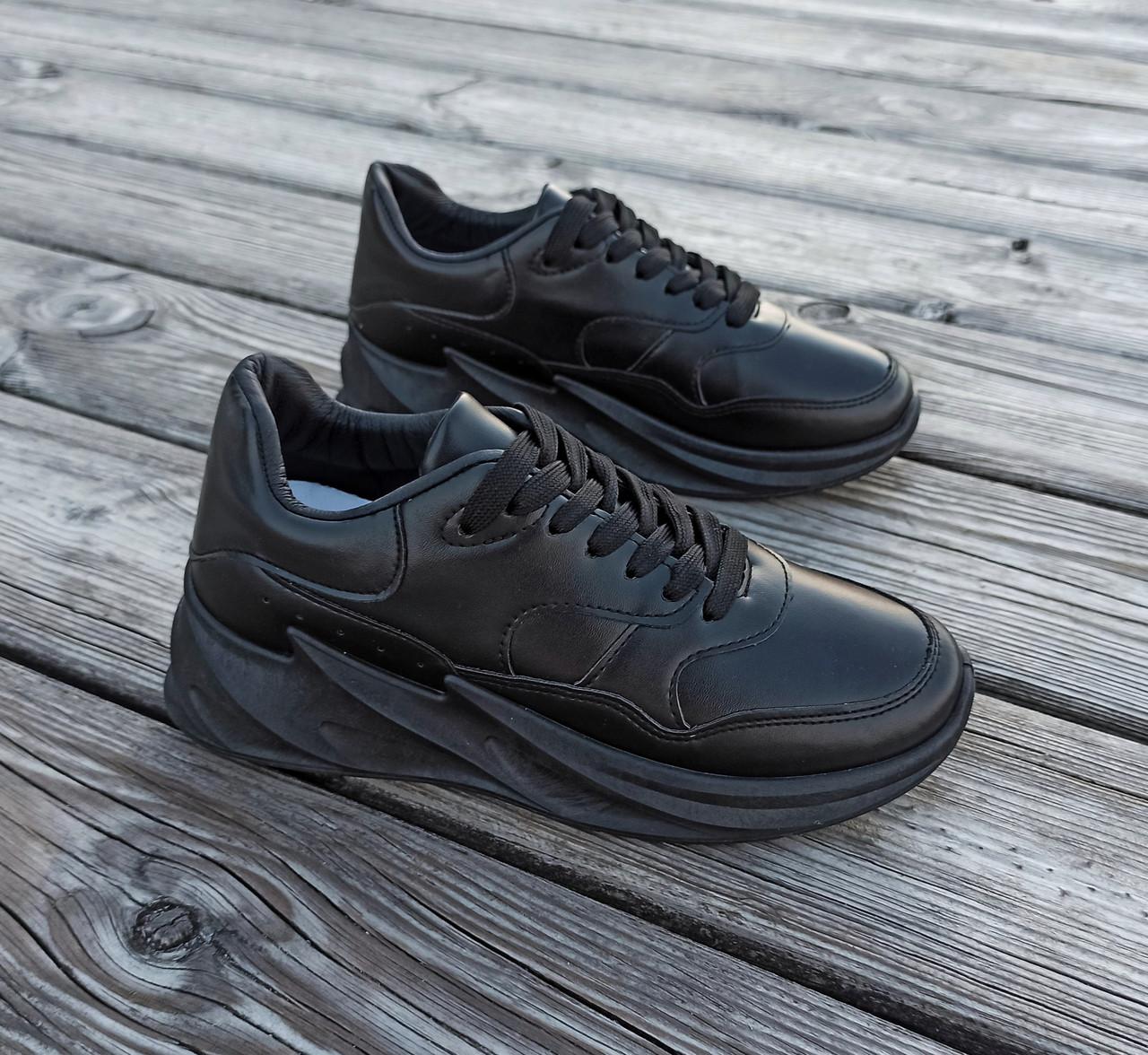 Чорні кросівки Adidas Shark еко шкіряні демисезон Адідас Шарк копія Жіночі