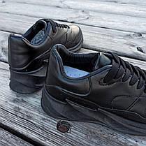 Чорні кросівки Adidas Shark еко шкіряні демисезон Адідас Шарк копія Жіночі, фото 3