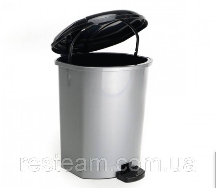 Ведро с педалью пластик  9 л  серое
